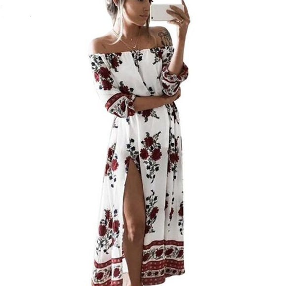 Vintage Dress Floral Print Off Shoulder Split Tube Maxi Dress