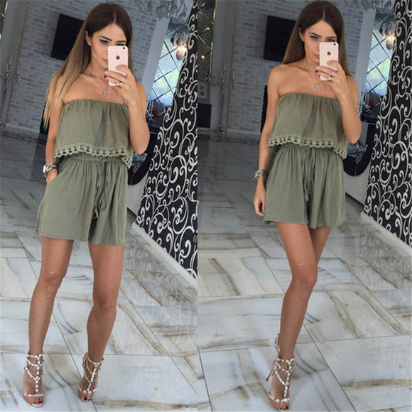 Leisure strapless chest wrapped Fashion solid romper