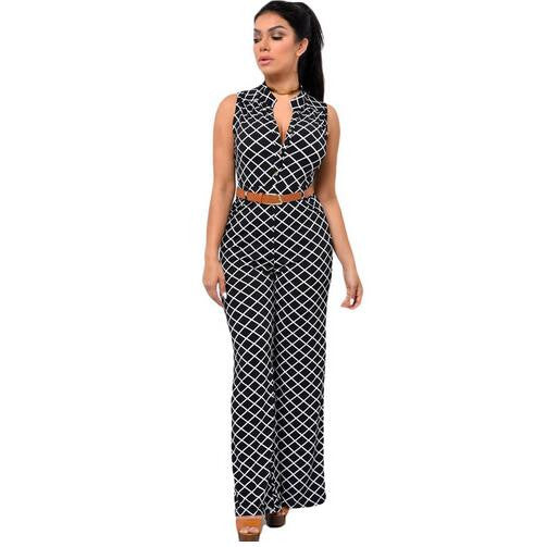 Long Pant Sleeveless V-neck Solid Slim with belt Jumpsuit