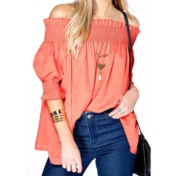Fashion ruffles off shoulder casual solid shirt blouse