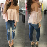 Chiffon Off Shoulder Casual Shirt Half Sleeve Top