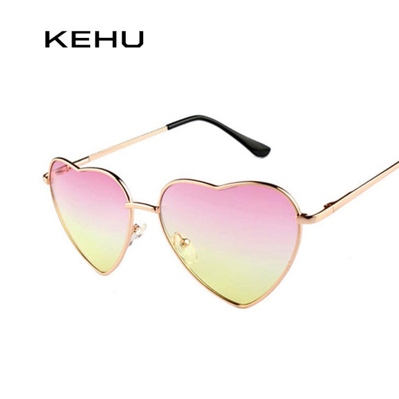 KEHU Heart Shaped Sunglasses WOMEN metal Reflective LENES Fashion sun GLASSES MEN Mirror oculos de sol NEW