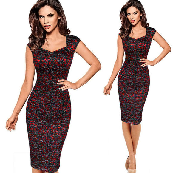 Lace Embroidery Vintage Sleeveless Bodycon Pencil Dress