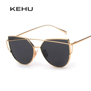 KEHU New Women 6 Colour Luxury Cat Eye Sunglasses Women Sunglasses Double-Deck Alloy Frame UV400