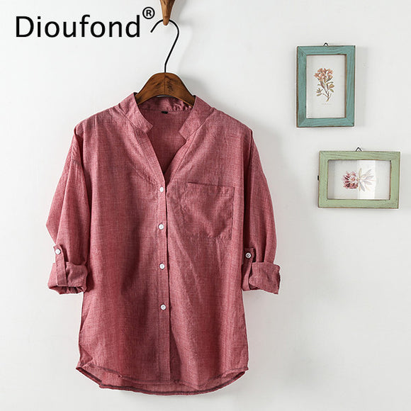 Dioufond Summer V-neck Cotton Thin Women Shirts Three Quarter Female Camisas Femininas Office Women Tops Blusas Femininas 2017