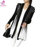 BellFlower 2017 Spring Women Cardigan Stripes Print Long Sleeve Women's Shawl Knitting SlimThin Sweater Cardigan For Female