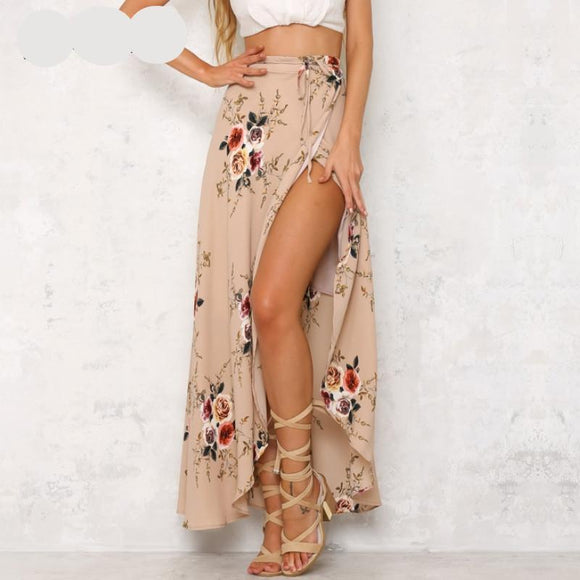 Floral print long elegant maxi high waist asymmetrical skirt