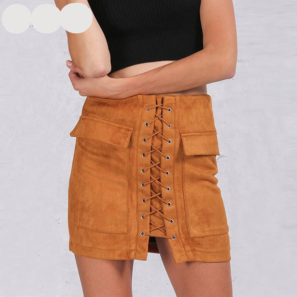Lace up suede leather pocket high waist short skirt