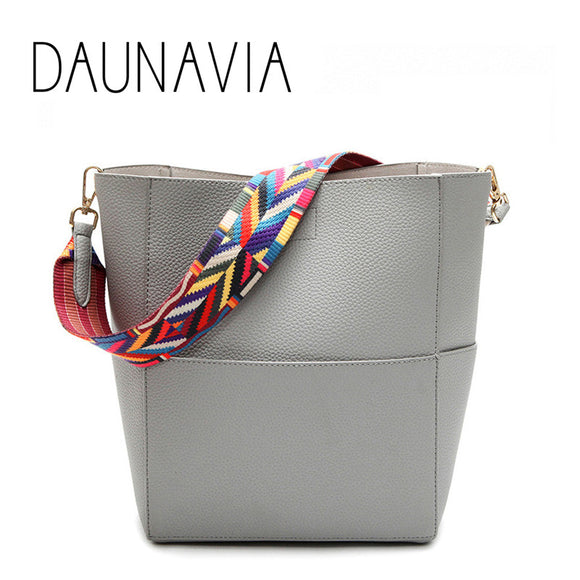 DAUNAVIA Luxury Brand Designer Bucket bag Women Leather Wide Strap Shoulder bag Handbag Large Capacity Crossbody bag Color 5