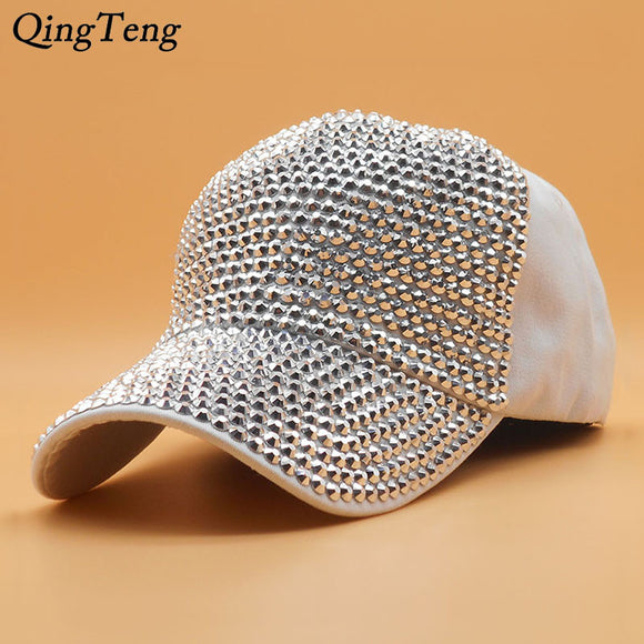 Wholesale White Fashion Women'S Rhinestone Hats One Thousand Diamond Rhinestone Swab Cap  Swag Casquette 6 Pane Snap Back Gorras