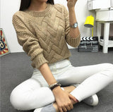 2017 Women Casual Sweater Plaid Female Pullover O-neck Spring and Autumn Computer Knitted
