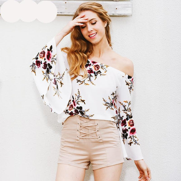 Off shoulder chiffon print Casual flare sleeve blouse