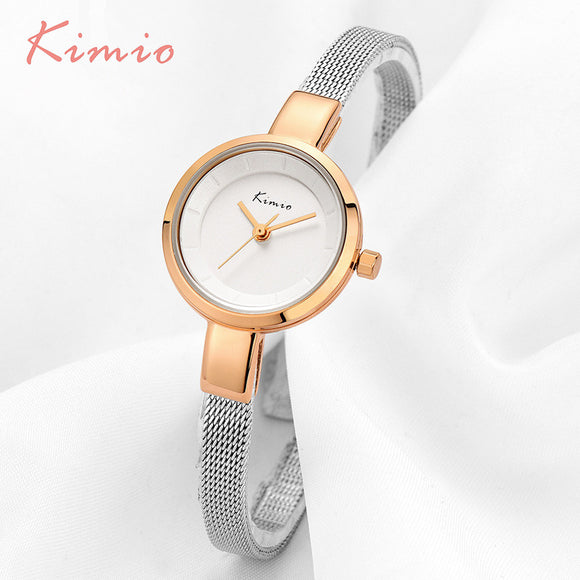KIMIO Small Round Dial Woven Mesh Band Quartz Women Watch Famous Luxury Brand 2017 Simple Casual Ladies Wrist Watches For Women