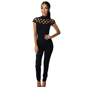 Choker High Neck Caged Long Jumpsuit Romper