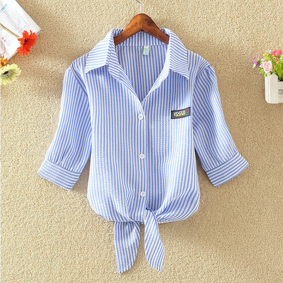 Striped short puff sleeved button decorated shirt