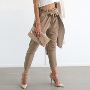 Chiffon elastic high waist harem pant with pockets