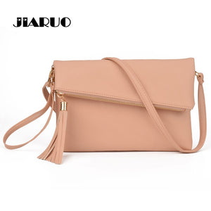 JIARUO 2017 Ladies Tassel Design Women PU Leather Crossbody Messenger bag Small Sling Shoulder Bags Fold Closure Handbag Purses