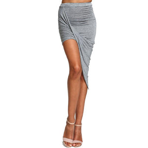 Cross Fold Wrap Waist Draped Cut Out Asymmetrical Pencil Skirt