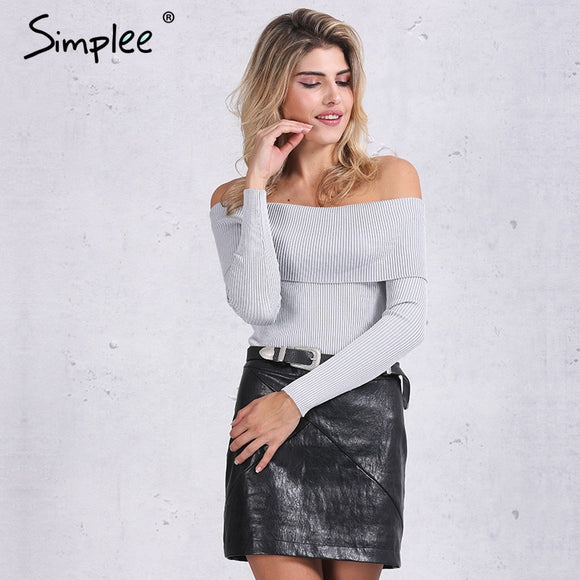 Simplee off shoulder elastic winter sweater women Short gray lapel pullover sexy white jumpers Autumn bodycon basic knitwear top