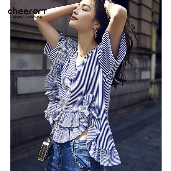 Cheerart 2017 V Neck White And Blue Striped Ruffle Blouse High Low Shirt Summer Korean Ladies Top With Flounces Clothing