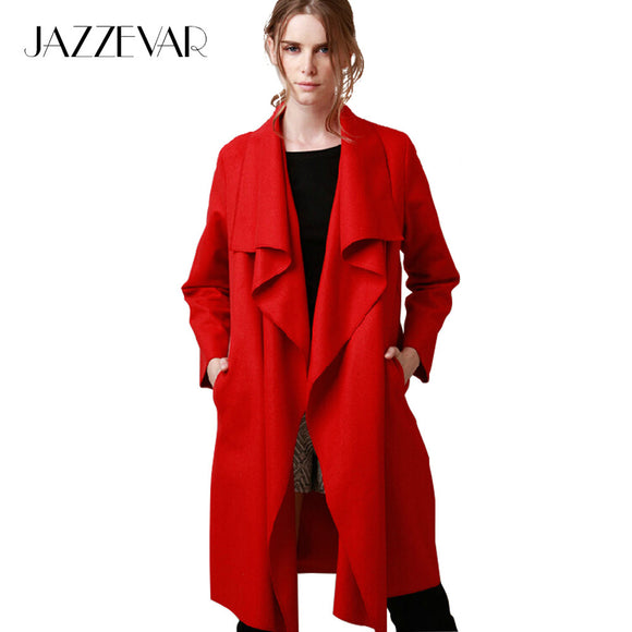 JAZZEVAR 2017 New Autumn High Fashion Women's Wool Blend Trench Coat Casual Long Outerwear Loose Clothing for lady