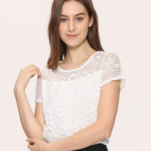 Lace Chiffon Short Sleeve Hollow Out Shirt Blouse