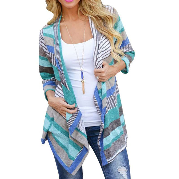 Summer Cardigan Women Menina Long Boho Knitted Striped Cardigans Feminino 2017 Outwear Long Sleeve Loose Sweater Clothing Be