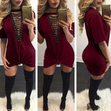 Casual T-Shirt Deep V Neck Lace Up  Bodycon Dress