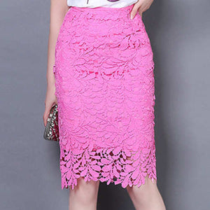 Elegant High Waist Pencil Hollow Out Lace Skirt
