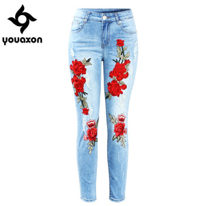 2126 Youaxon New Plus Size Stretchy Ripped Jeans With Scuffs 3D Embroidery Flowers Woman Denim Pants Trousers For Women Jeans
