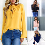 Heyouthoney 2017 New Women Tee Shirt Femme Autumn Bowknot Vintage Casual Flare Long Sleeve T-shirt Top 4 Colors Women's Clothing