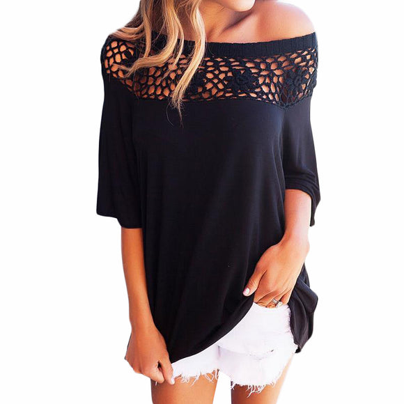T-Shirt Women Patchwork Summer Autumn Casual T Shirts Hollow Out Lace Tee Tops Sexy Loose Femme T Shirts WS490E