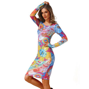 Vintage Long Sleeve High Elastic Floral Bodycon Dress