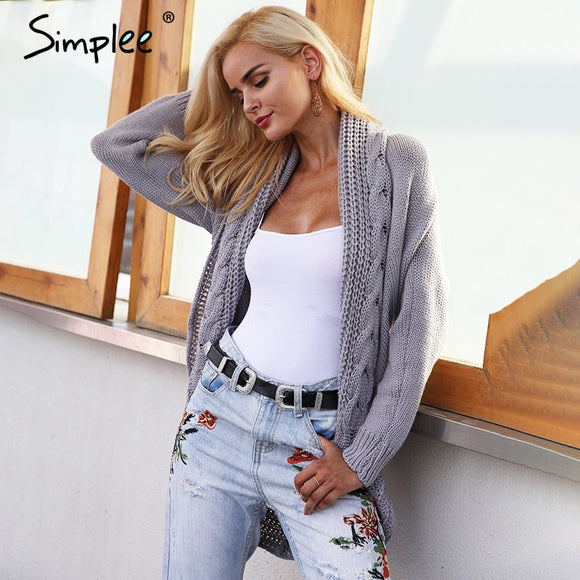 Simplee Winter shrug knitted sweater cardigan Women elegant autumn white cardigan Female turn down collar sweater cardigan 2017