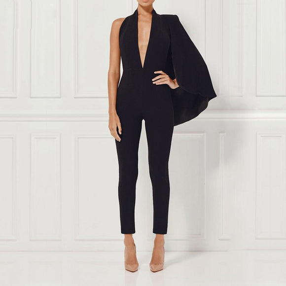 Women Celebrity Runway Jumpsuit Black Deep V-Neck Halter half Batwing Sleeve