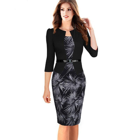 One-piece Faux Jacket Full sleeve Elegant Patterns Bodycon Dress