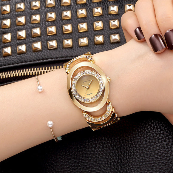 CRRJU Luxury Women Watch Famous Brands Gold Fashion Design Bracelet Watches Ladies Women Wrist Watches Relogio Femininos