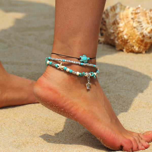 Bracelet on the Leg  Sea Turtle Anklets For Women