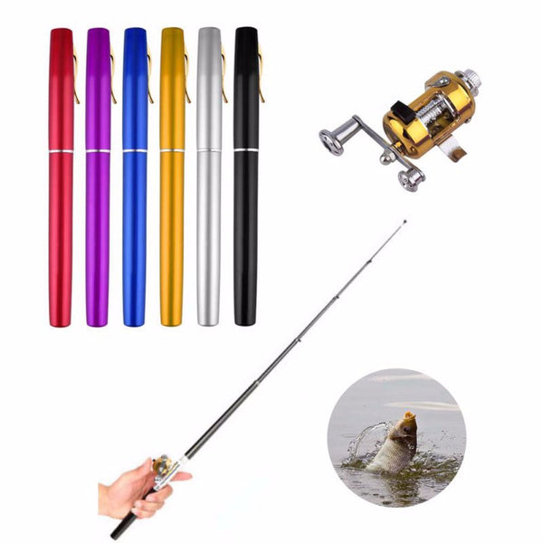 Portable Pocket Telescopic Mini Fishing Pole Aluminum Alloy Pen Shape Fishing Rod With Reel Wheel 6 Colors