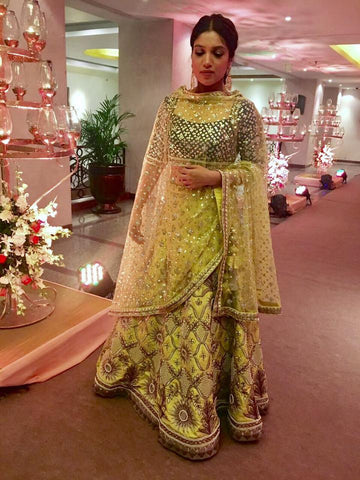 Actress Bhumi Padnekar In Yoshita's Lemon and Ink Lehenga full
