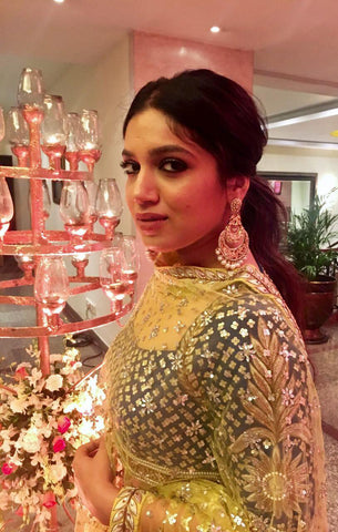 Actress Bhumi Padnekar In Yoshita's Lemon and Ink Lehenga Top