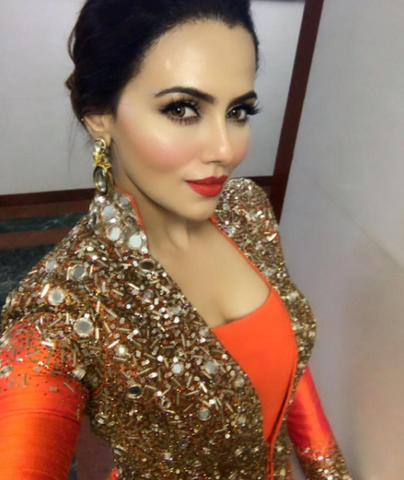Actress Sana Khaan in our Burnt Orange Lotus jacket anarkali