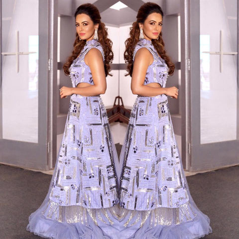 Image of Actress Sana Khaan looking like a Dream in Yoshita's Serenity CutOut Anarkali