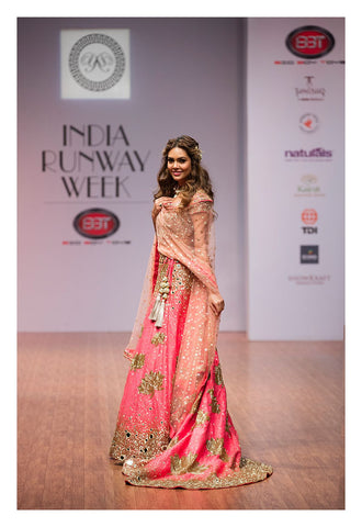 Image of Esha Gupta wear Yoshita's pink trail lehenga