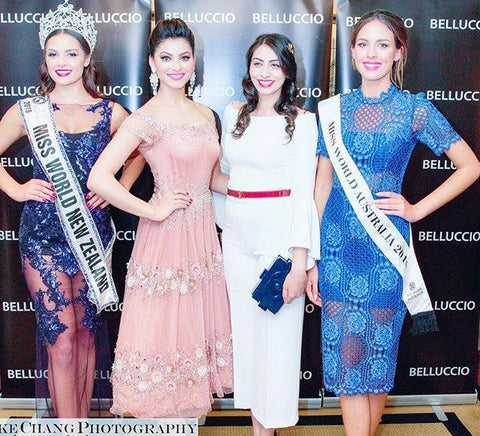 Image of Urvashi Rautela in our Garden of Flowers Dress judging a beauty pageant in Australia