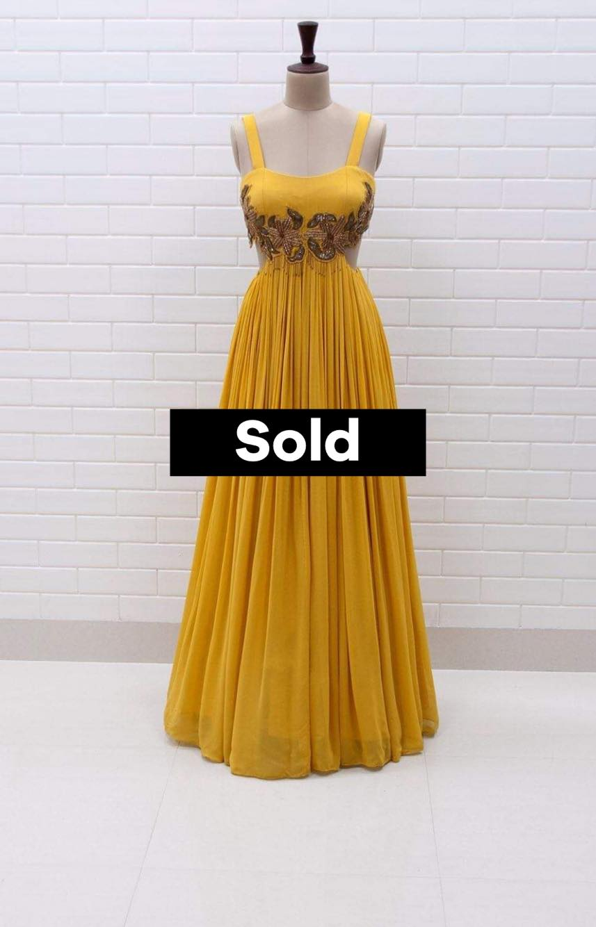 CHIARA : Spicy Mustard Waist Cut-Out Gown