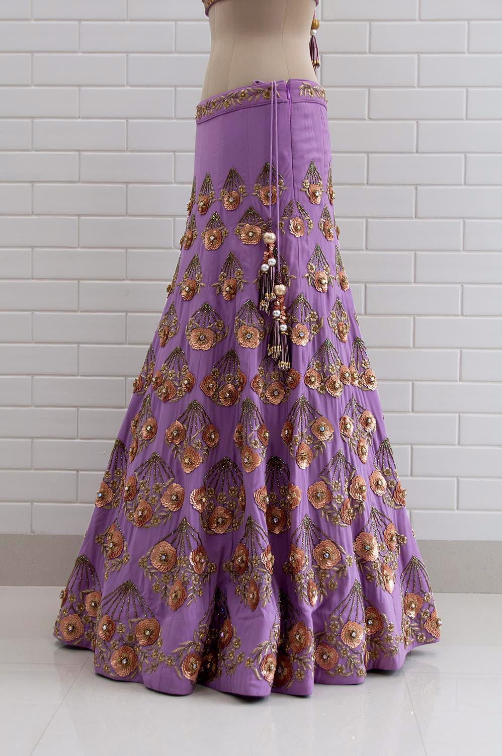 GIULIETTA : Violet Tulle floral zardozi handfans embroidered lehenga with Jaal work choli blouse and dupatta