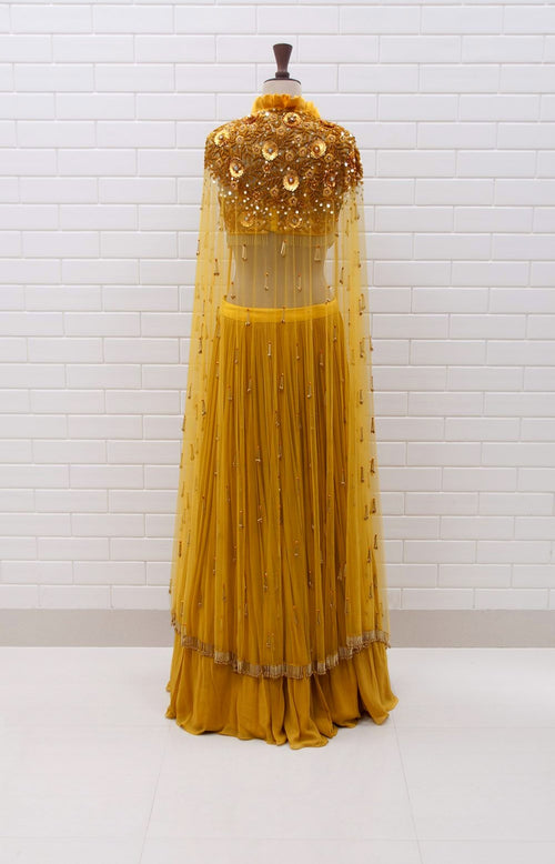 ALBA : Spicy Mustard Box collar Shoulder Jacket & Blouse in Floral Sequins and Beads embroidery with pleated Lehenga