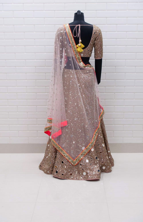 Blush Pink All Mirrors Jaal Lehenga with Jaal blouse