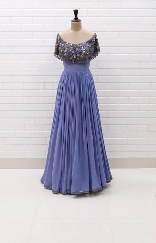 SAVIA : Off shoulder pleated gown with Floral Sequins and Beads embroidered flaired collar